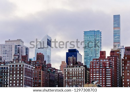 scenic view of skyscraper of midtown manhattan on east river side nyc usa