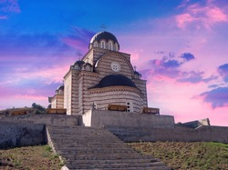 scenic view of St. Demetrius Serbian Orthodox Church, Orthodox church in Mitrovica, Kosovo