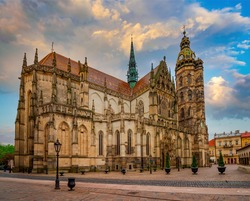 Scenic view of St. Elisabeth cathedral in the main square of Kosice city, Slovakia. St. Elisabeth cathedral is a Slovakia's largest church and one of the easternmost Gothic cathedrals in Europe