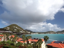 Scenic view of St. Maarten, Dutch-side, in the Caribbean