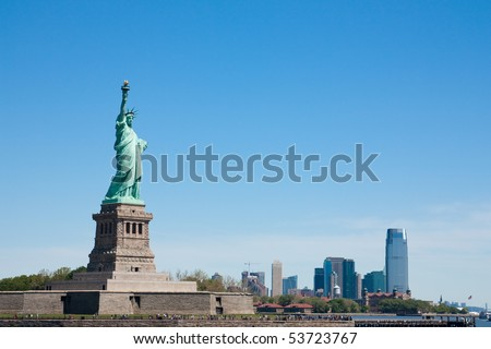 Scenic view of Statue of Liberty, New York City harbor, U.S.A