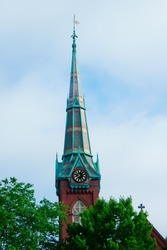 Scenic view of steeple of First Congregational church Natick Massachusetts USA