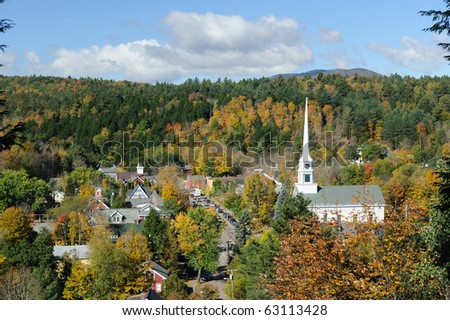 Scenic view of Stowe in Vermont