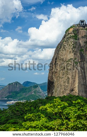 Scenic view of Sugarloaf mountain with blue sky and cloudscape background, Rio de Janeiro, Brazil.