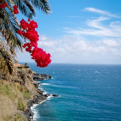 Scenic view of the Atlantic Ocean from a villa in Canisu, Madeira island, Portugal