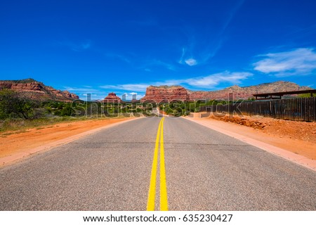 Scenic view of the beautiful landscape of the Village of Oak Creek in Sedona, Arizona.