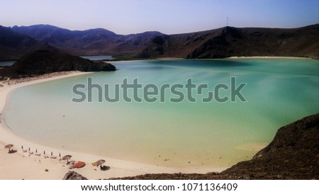 Scenic view of the best beach in Mexico, Balandra. La Paz, Baja California Sur