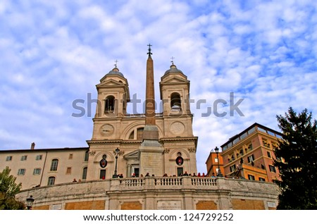 Scenic view of the church of the Tritinit�  dei Monti at dusk, Rome, Lazio, Italy