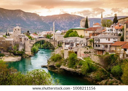 Scenic view of the city of Mostar and the Neretva River, Bosnia - Shutterstock ID 1008211156