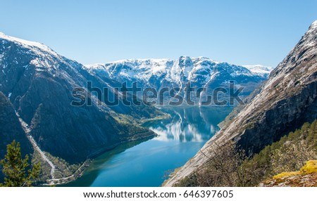 Scenic view of the Hardangerfjord from the Kjeasen farm #646397605