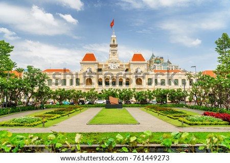 Scenic view of the Ho Chi Minh City Hall in Vietnam. Ho Chi Minh City is a popular tourist destination of Asia.