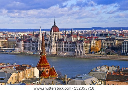 Scenic view of the Hungarian Parliament and Pest roofs, Budapest, Hungary