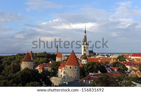 Scenic view of the Old Town in Tallinn, Estonia