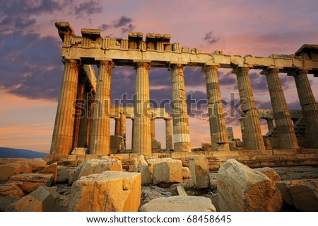 Scenic view of the Parthenon at sunset, located in Athens, Greece