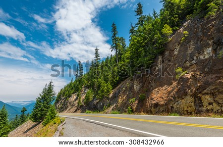 scenic view of the road on the way to  Mount Rainier,WA,USA