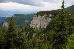 Scenic view of the romanian mountains with various rock formations