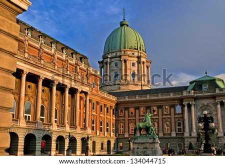 Scenic view of the Royal Palace at sunset, Budapest, Hungary