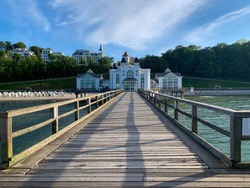 Scenic view of the Seebruecke architecture building from wooden bridge and beautiful coast landscape of Sellin town