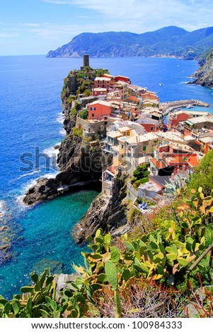 Scenic view of the village of Vernazza, Cinque Terre, Italy