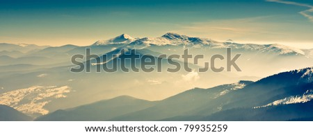 Scenic view of the winter mountains