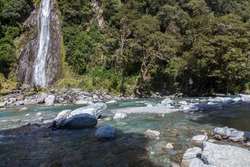 Scenic view of Thunder Creek Falls in New Zealand