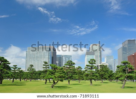 Scenic view of Tokyo, buildings near imperial palace