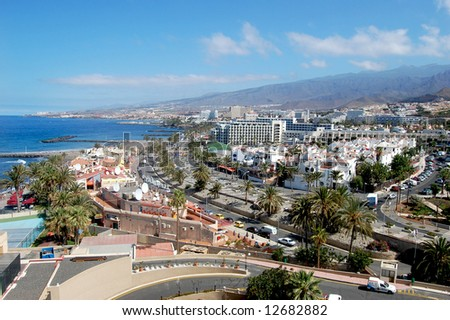 Scenic view of tourist town, Tenerife, Canary Islands