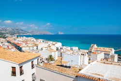 Scenic view of traditional Spanish whitewashed houses at the seaside in Altea, Costa Blanca, Spain