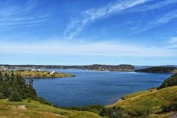 Scenic view of Trinity Bay in Newfoundland and Labrador, Canada