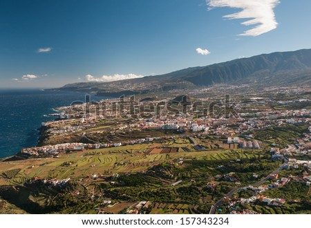 Scenic view of typical development mixed with agriculture fields on Tenerife, Canary Islands, Spain.