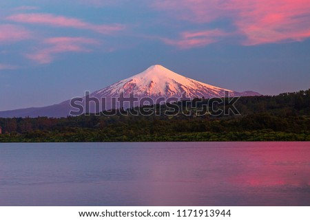 scenic view of Villarrica Volcano in Chile patagonia sunset #1171913944