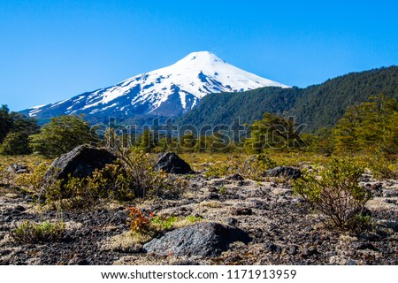 scenic view of Villarrica Volcano in Chile patagonia sunset #1171913959