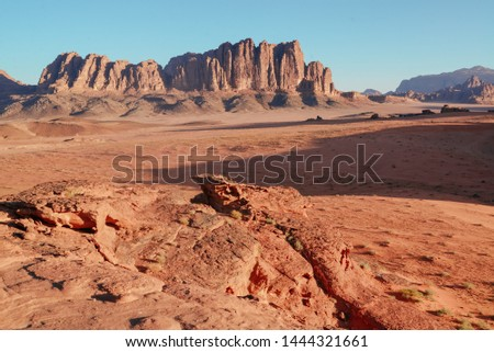 Scenic View Of Wadi Rum desert camp Against Clear Sky During Sunset, Arabian Desert, Jordan #1444321661