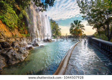 Scenic view of waterfall of Castle Hill in Nice. Cote d'Azur, France