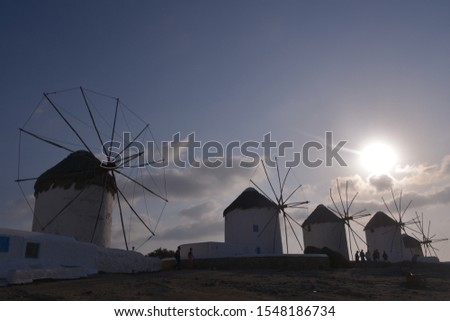 Scenic view of Windmills in Kato Myli in Mykonos, Greece Zdjęcia stock ©