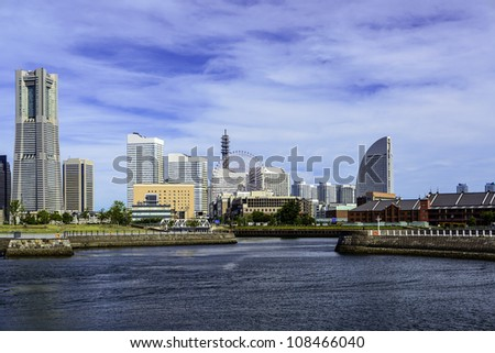 Scenic view of Yokohama marina across the water in Japan