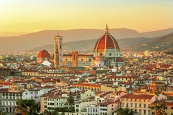 Scenic view on hart of amazing Florence city and the Cathedral Santa Maria del Fiore at sunrise, Florence, Italy