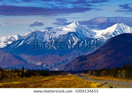 Scenic view on the drive from Whitehorse to Haines Junction, Yukon Territories, Canada. - Shutterstock ID 1006134655