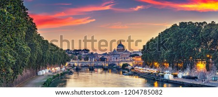 Scenic view on the Vatican in Rome, Italy, at sunset. Colorful travel background.