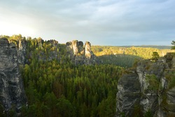 Scenic view over the Sandstone mountains in Saxon Switzerland, Germany