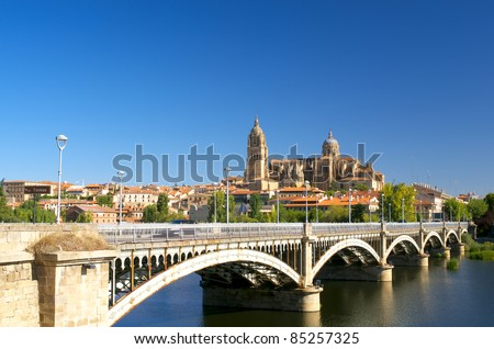 Scenic view to Salamanca Cathedral with bridge over Tormes river