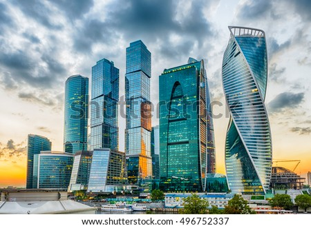 Scenic view with skyscrapers of the Moscow City International Business Center, Moscow Skyline, Russia #496752337