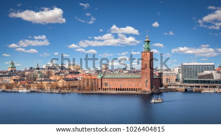 Scenic view with the City Hall on a beautiful sunny day, Stockholm, Sweden