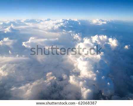 Scenic viewpoint from above clouds in the sky