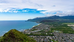 Scenic views of coast and mountains of Oahu Hawaii from the top of the Waianae Pillbox ridge, Seascapes, landscape, and mountain views.