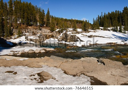 Scenic views of Elbow Falls Kananaskis Country Alberta Canada in early spring