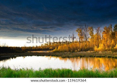 Scenic views of Elk Island National Park, Alberta Canada - stock photo