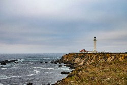 Scenic views of the ocean and Point Arena lighthouse, Mendocino, California