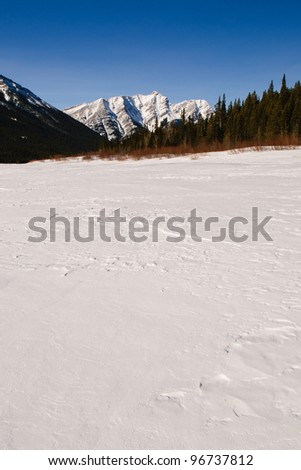 Scenic views of the Rocky Mountains in winter, Alberta Canada