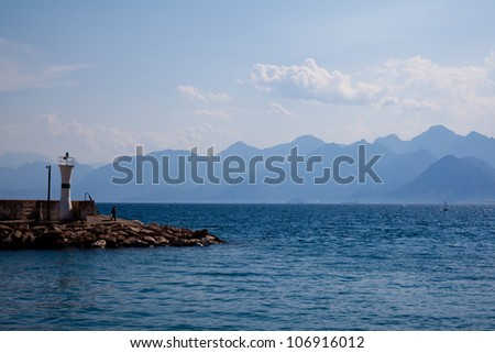 scenic views of the sea with flashlight - stock photo